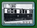 1950: ex-Hardwick Manor Railway bogie compartment First Class carriage in its original livery, purchased from the Sutton Miniture Railway, sits in road two of the original Fairbourne terminus, from book 'Short History of Fairbourne Railway' - Bill Hyde collection